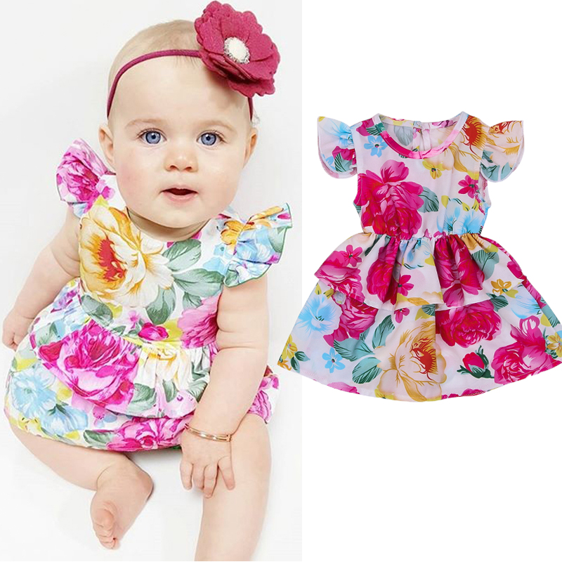 Cute Newborn Infant Baby Girl Floral Tutu Dress Party Pegeant Princess Dresses Summer Baby Girls Clothes 1
