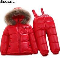 Winter Baby Snowsuit Set 6M 12M 24M 3T 5T Kids Girls Boys Ski Suit Fur Hooded Toddler Clothing Set Children duck down overalls