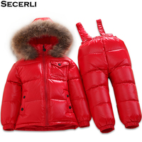 Winter Baby Snowsuit Set 6M 12M 24M 3T 5T Kids Girls Boys Ski Suit Fur Hooded Toddler Clothing Set Children duck down overalls