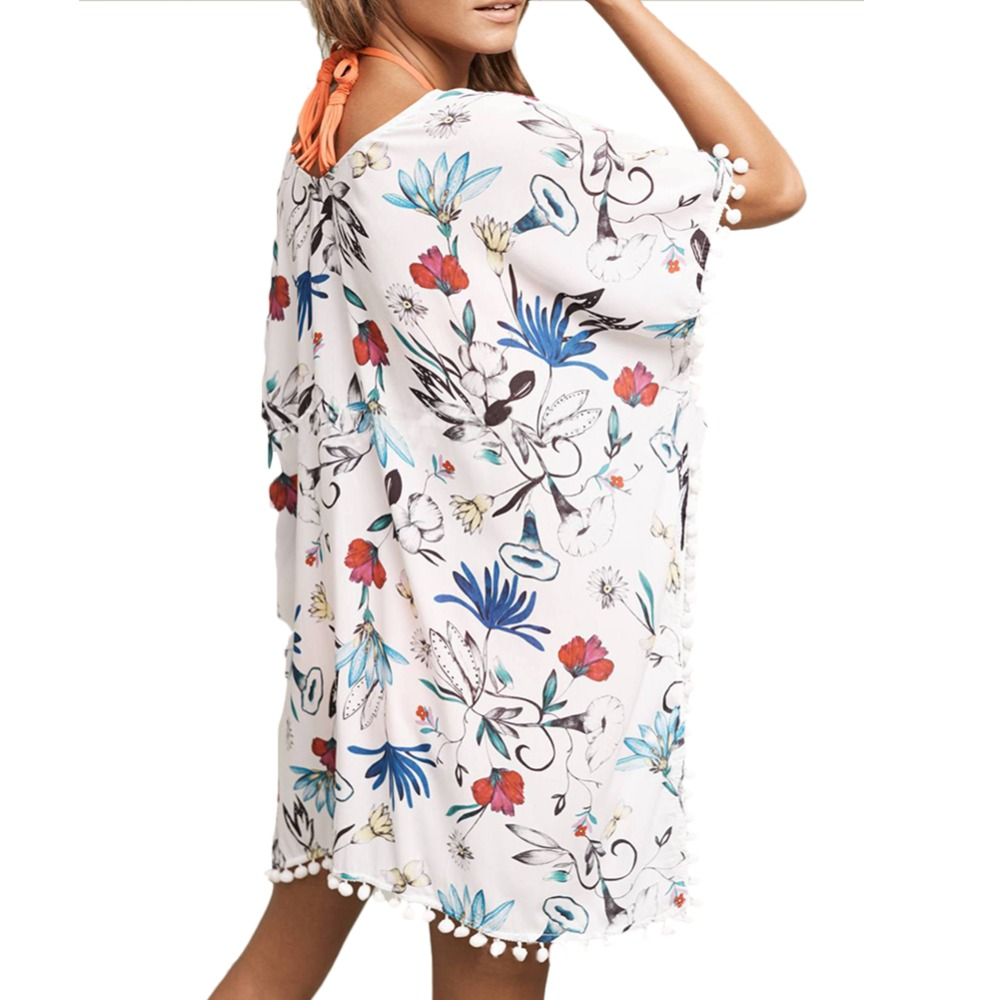 f1aeed0cf9 Beach Floral Swimsuit Cover Up Kaftan Summer Shirt Women Kaftan Beach Dress  Plus Size Swimwear Bikini Swim Suit Sheer Beachwear-in Cover-Ups from  Sports ...