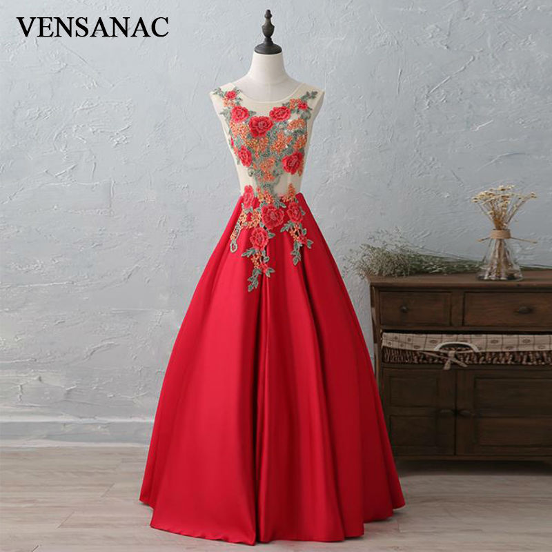 VENSANAC New A Line 2017 Embroidery O Neck Long   Evening     Dresses   Sleeveless Elegant Flowers Embroidery Party Prom Gowns