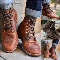 High Quality British Men Boots Autumn Winter Shoes Men Fashion Lace up Martin Boots Leather Male Botas Men's Motorcycle boots