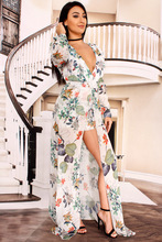 Women Floral Print Chiffon Maxi Dress Long Sleeve Woman Elegant Beach Flower Dress Long Vestidos Robe Femme Sexy Party Dresses цена