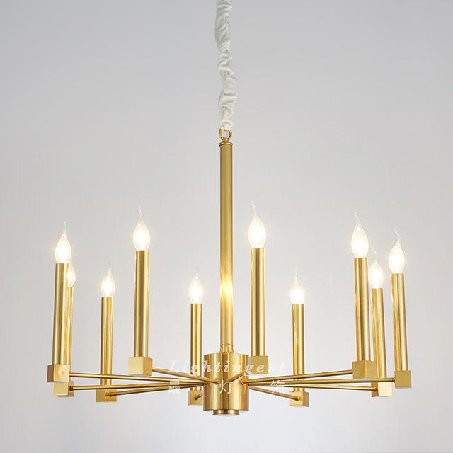 Most Lighting Modern American Style Full Brass Candle Cylinder Simple Fashion Designer Model Room