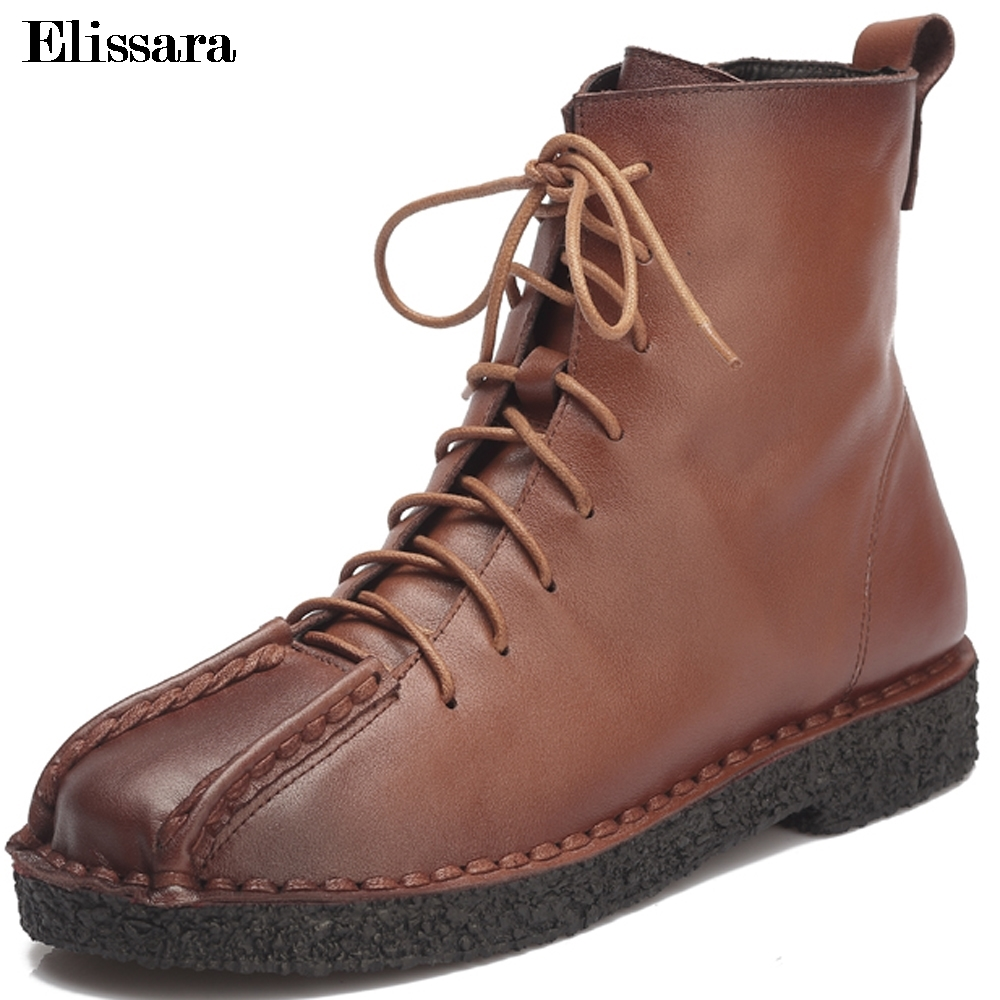 Elissara Women's Shoes Woman Genuine Leather Boots Fashion Lace Up Ankle Boots Women Casual Zip Soft Outdoor Boots Size 34-40 front lace up casual ankle boots autumn vintage brown new booties flat genuine leather suede shoes round toe fall female fashion