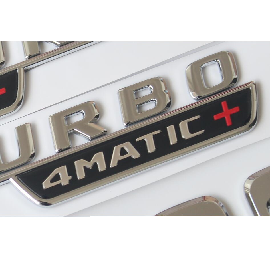 1 pair Chrome Black V8 BITURBO 4MATIC Fender Letters Badge Emblem Emblems Badges for Mercedes Benz AMG 4MATIC 2017 2019 in Emblems from Automobiles Motorcycles