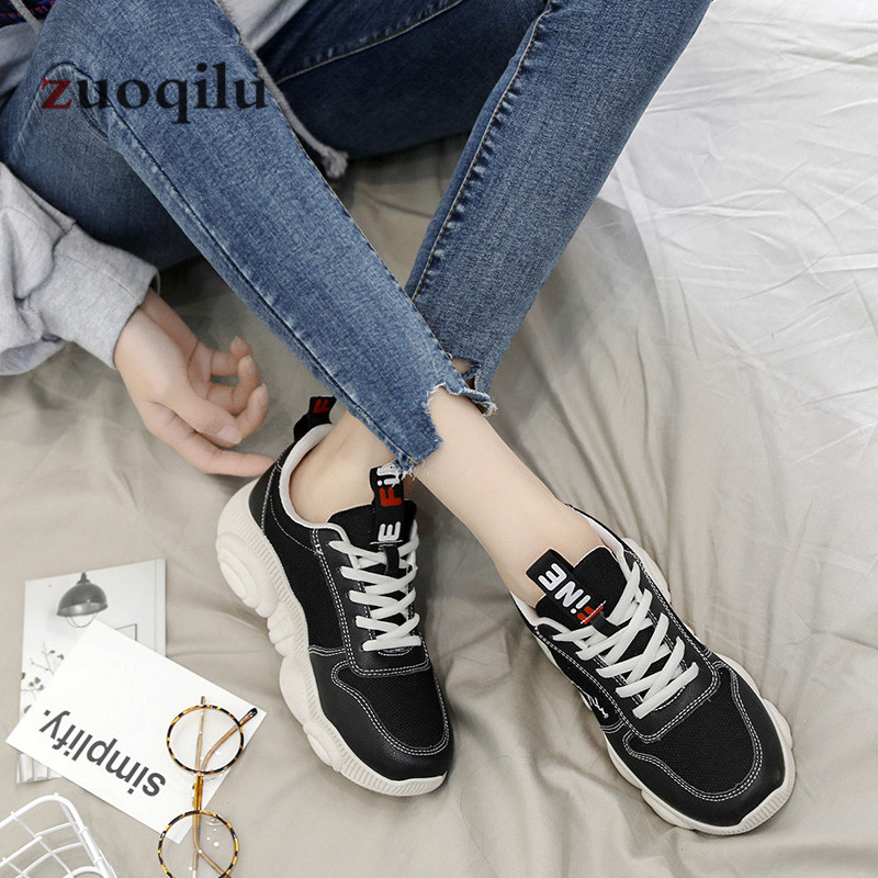 Women Casual Shoes 2019 Spring Mesh Platform Women Shoes Lace-Up Breathable Shoes Woman White Zapatillas Mujer 4