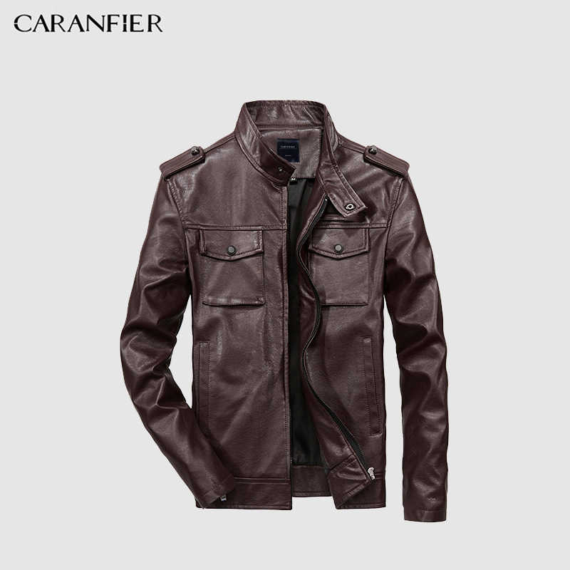 CARANFIER Mens หนังฤดูใบไม้ร่วงฤดูหนาว Men Faux เสื้อ Biker รถจักรยานยนต์ชายเสื้อธุรกิจคุณภาพสูงขนาด XXS-3XL