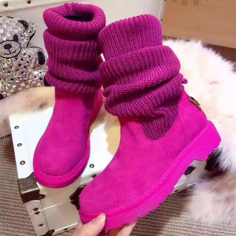 2017 New Women Fashion Genuine Leather Winter Boots Comfortable Warm Fur Women Long Boots Shoes high quality size 35-39