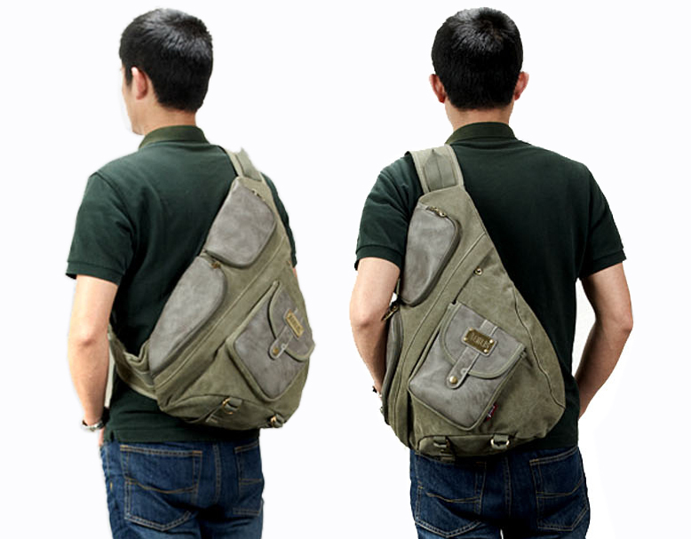 Vintage Items Canvas And Leather Chest Bag Sling Tactical One Single Shoulder Messenger Book Bags For Men Free Shipping In Crossbody From Luggage
