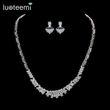 Luoteemi 2016 mais recente chegada de prata cz rhinestone meninas brincos colar conjuntos de jóias para mulheres acessórios do casamento de noiva de presente