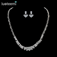 LUOTEEMI 2016 Newest Arrival Silver CZ Rhinestone Girls Earrings Necklace Jewelry Sets For Women Bridal Wedding