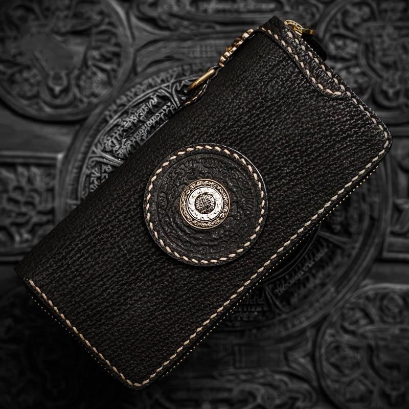 Portefeuilles tibétains recouverts de neige pour femmes, personnages magiques en peau de requin, portefeuille pour hommes, porte-monnaie vintage de marque de luxe