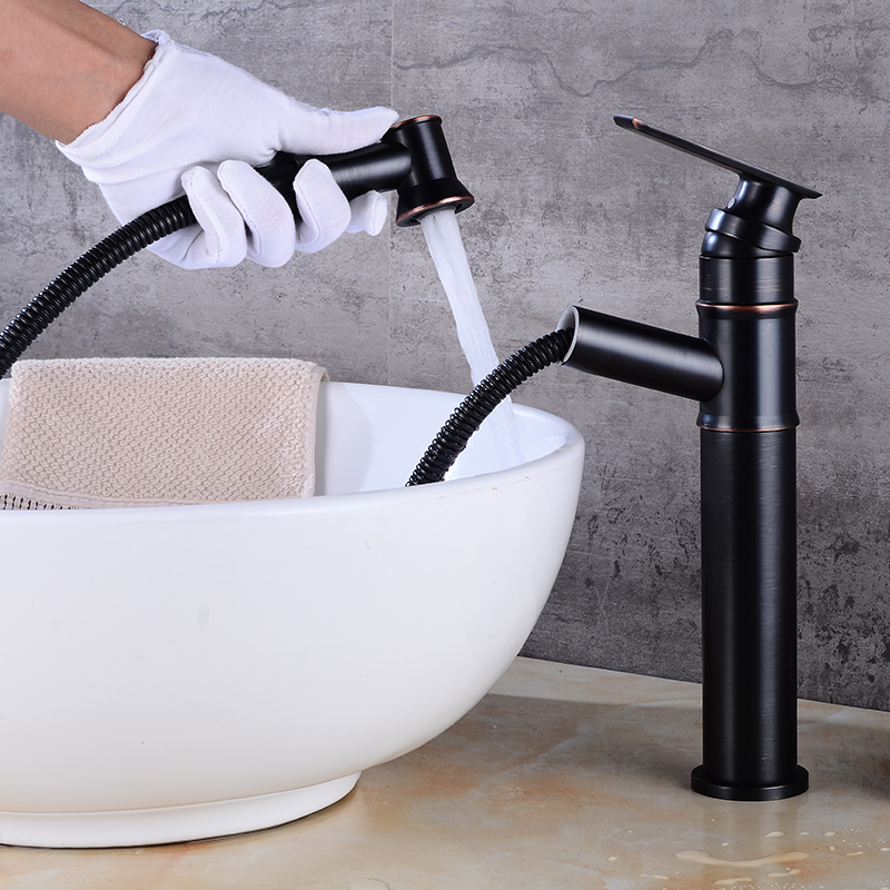 type full Copper drawing water tap basin cold and hot waterbrass black faucet wash basin tap water pull out faucet copper infrared intelligent automatic induction type single tap faucet wash