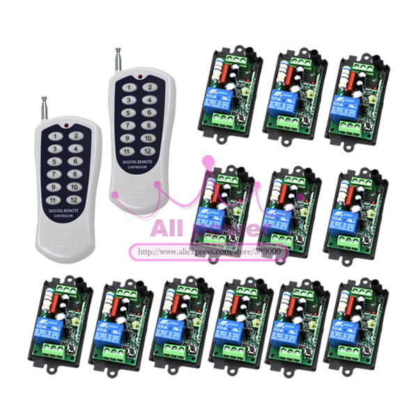 One Set 1-Channel Digital Wireless Remote Control Power Lamp Light Switch 1CH Receiver x4 + 12Buttons Transmitter x2 220V 2 channel wireless digital remote control switch white black multi colored