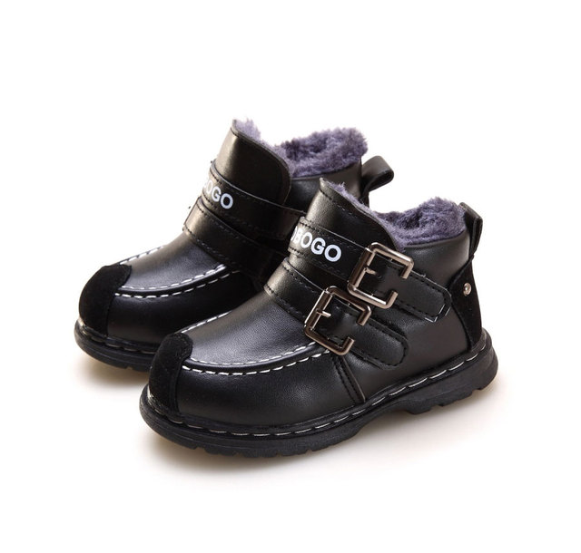 kids winter Fashion Child Leather Snow Boots For Girls Boys Warm Martin Boots Shoes Casual Plush Child Baby Toddler Shoe