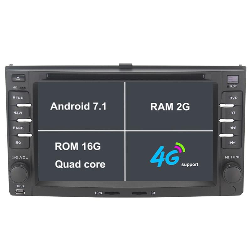 Android 7.1.1 два DIN 6.2 дюймов dvd-плеер автомобиля для KIA/CERATO/Sportage/rio/утро 2 ГБ Оперативная память Wi-Fi GPS навигации Радио fm USD/SD