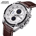 Brand JEDIR 2016 New Men's Watches Quartz Watch Men Real Three Dial Luminous Waterproof 30M Outdoor Sports Leather Strap Watches