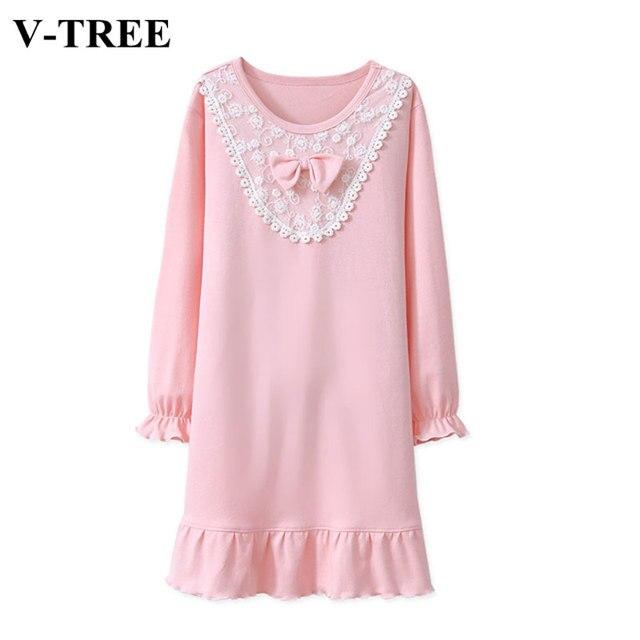 5268fb321 Mother   Kids Dress Long Sleeve Mother Daughter Pajamas Lace Girls ...