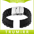 20mm Silicone Rubber Strap for Samsung Gear S2 Classic R732 & R735 Moto 360 2 42mm Stainless Steel Buckle Band Bracelet Black