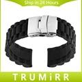 20mm pulseira de borracha de silicone para samsung gear s2 classic r732 & r735 moto 360 2 42mm banda fivela de aço inoxidável pulseira preta