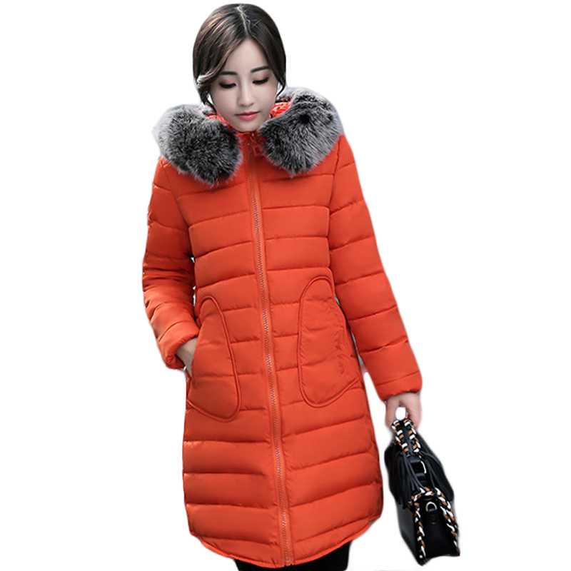2017 New Fashion Ladies Thick Warm Winter Jacket Women Slim Parkas Female Large Fur Hooded Cotton Coat Plus Size M-3XL CM1624 women winter jacket 2017 new fashion ladies long cotton coat thick warm parkas female outerwear hooded fur collar plus size 5xl