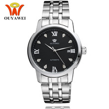 Brand Self Wind Mechanical Watches Waterproof OUYAWEI  Men Man Wristwatch Silver Steel Hot Sale Business Relogio Masculino ouyawei full steel mechanical men watches brand self wind water resistant man wristwatch fashion luxury business clock 2019