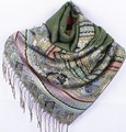 Fashion Green Women's Silk Pashmina Shawl Scarf Wrap honeybee flower Free Shipping Wholesale Retail FF-XMF6