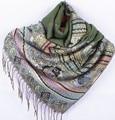 Fashion Green Women's Silk Pashmina Shawl Scarf Wrap honeybee flower Free Shipping Wholesale Retail FF-XMF6