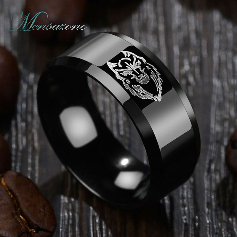 b8b0aee0dd MENSAZONE Black Color Titanium Steel Lion Ring For Men Punk Style Engraved  Logo Signet Ring Party Gift -in Rings from Jewelry & Accessories on ...