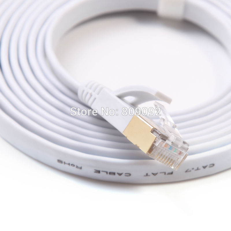High Speed Network Cable 15M/20M/25M/30M Ethernet Cable Cat7 RJ45 M/M Thin High Speed Flat Shielded Twisted Pair Internet Lan