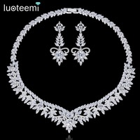 LUOTEEMI Romantic Luxury CZ Crystal Heavy Collar Choker Necklace For Women Flower Shaped Bridal Wedding Party Necklace Jewellery