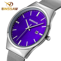 BINSSAW Mens Watch Top Brand Luxury Ultra Thin Watch Men Waterproof Steel Male Clock Men Silver
