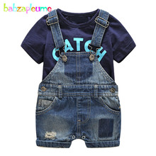 2PCS/Summer Style Newborn Clothing Sets For Baby Boys Outfit Kids Clothes Fashion Letter T-shirt+Denim Shorts Infant Suit BC1184