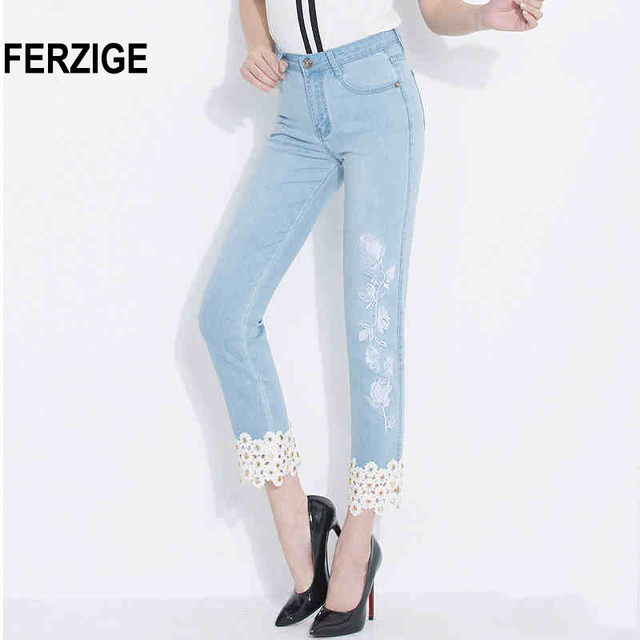 ed85856e3b4 FERZIGE Jeans Women Embroidered Floral Hollow Out Straight Slim Light Blue  Elastic Ladies Ankle-length Cropped Pants Push Up Hot