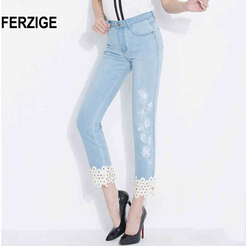 FERZIGE Jeans Women Embroidered Floral Hollow Out Straight Slim Light Blue Elastic Ladies Ankle-length Cropped Pants Push Up Hot