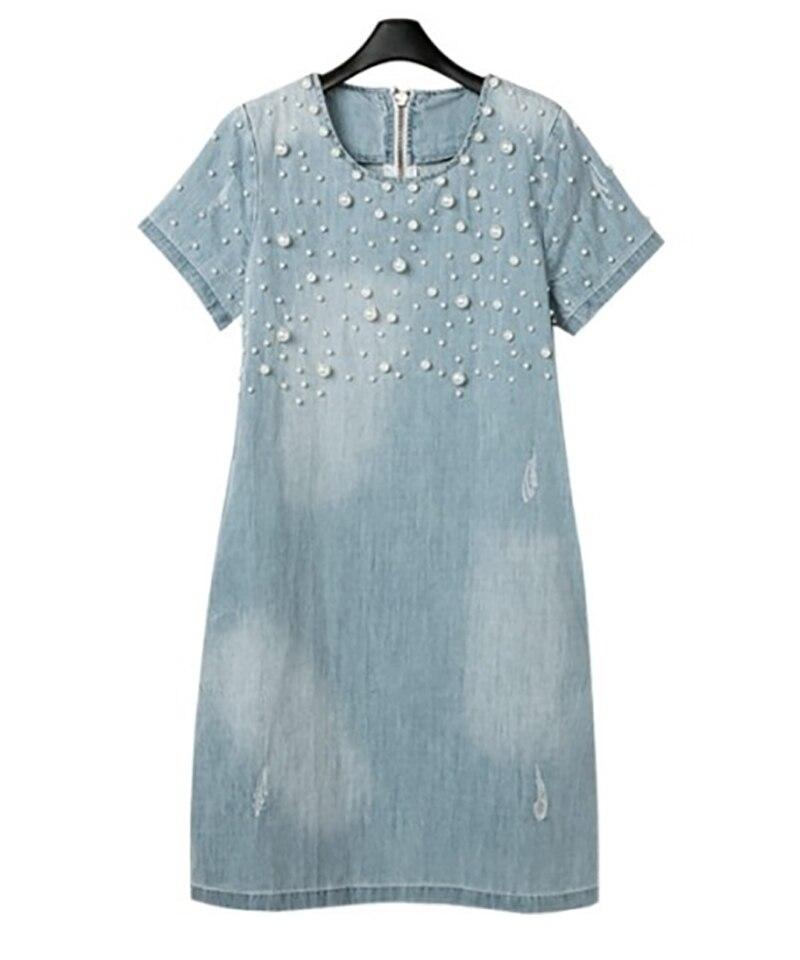 2018 verão solto azul calças de brim vestidos para mulher plus size manga curta o pescoço denim vestido lavado 4xl 5xl 50