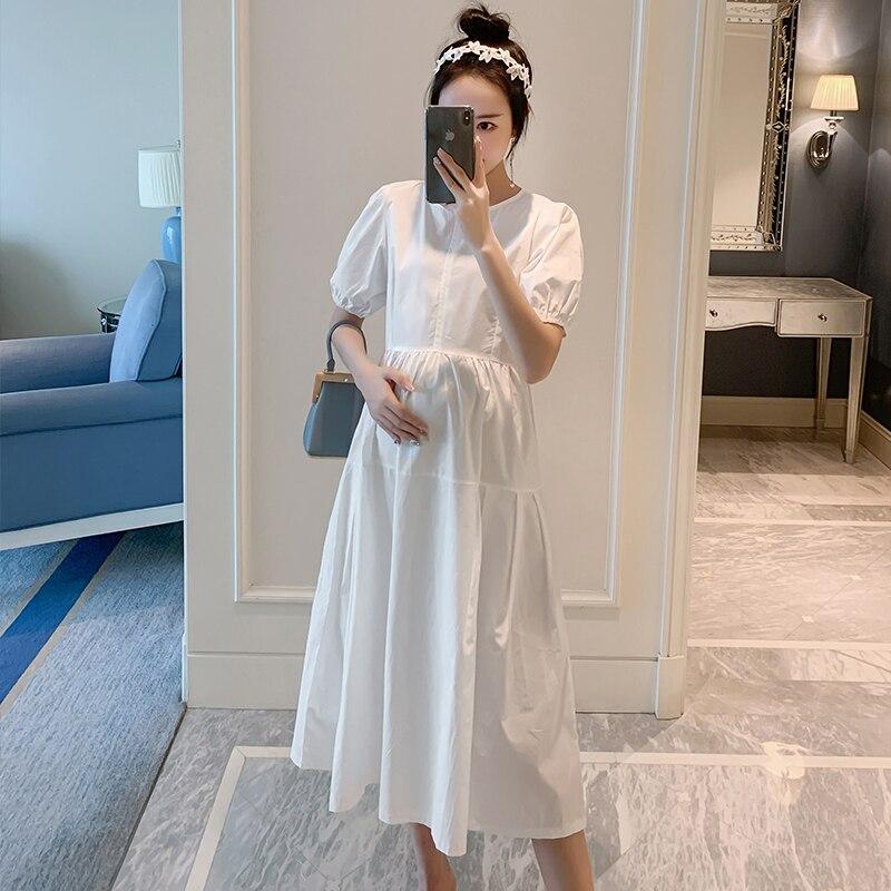 169 # белое хлопковое длинное платье для беременной Макси летняя модная Милая Одежда для беременных женщин тонкая одежда для беременных