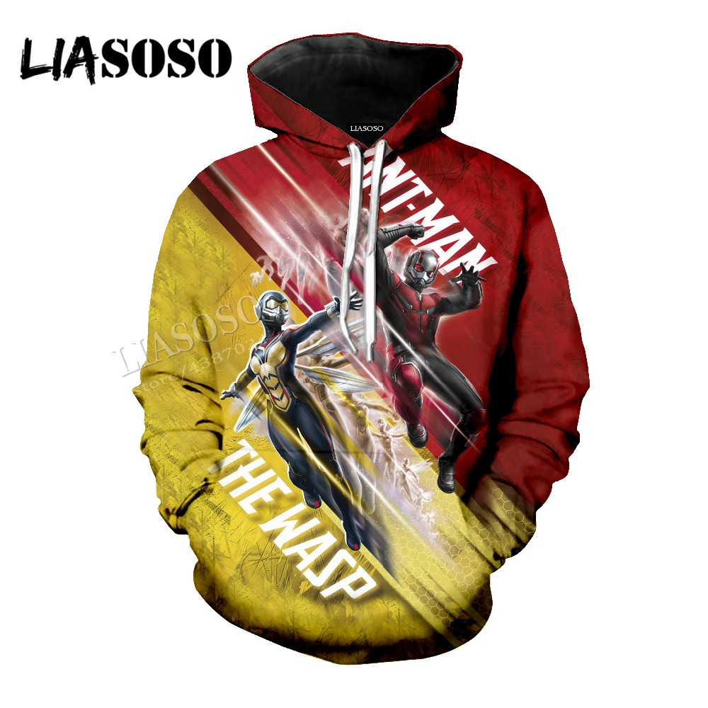 LIASOSO latest 3D printing popular Marvel movie printing ant 2 Wasp female pullover jersey hoodie men women clothing CX142