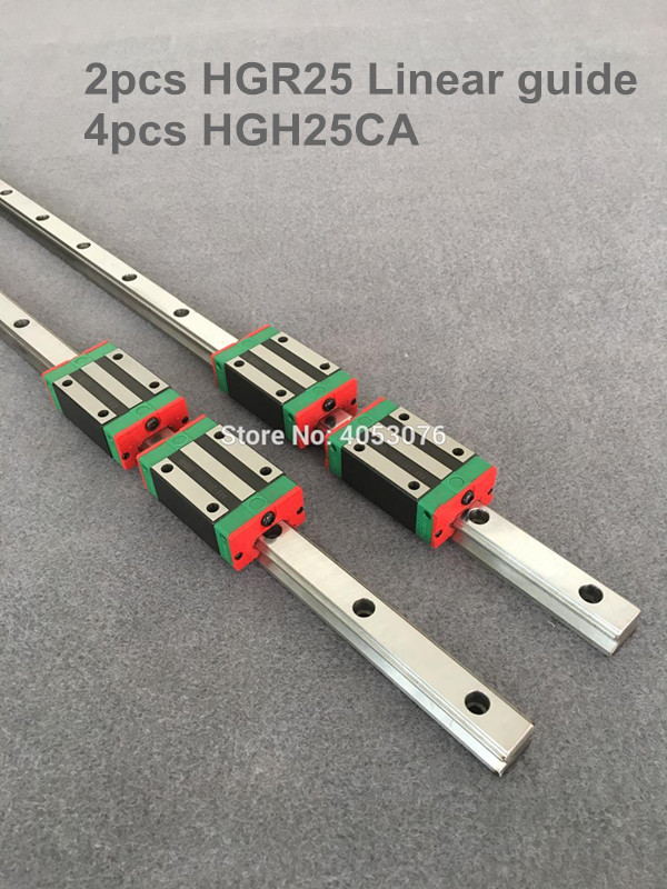 2 pcs linear guide HGR25-L200-450mm Linear rail and 4 pcs HGH25CA linear bearing blocks for CNC parts free shipping to argentina 2 pcs hgr25 3000mm and hgw25c 4pcs hiwin from taiwan linear guide rail