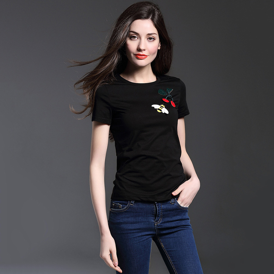 Black t shirt for ladies - Aliexpress Com Buy Cherry Bee Embroidery T Shirt Women Tops 2016 Brand White Black T Shirts For Women Short Sleeve Tee Shirt Femme Poleras De Mujer From