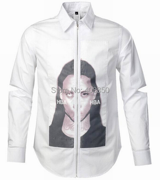 HBA Gauze Printed Character Zipper Cotton BlackWhite Long Sleeve Dress Shirt (1).jpg