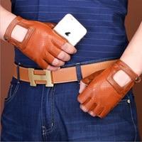 2017 Men Women Half Finger Goatskin Driving Glove Genuine Leather Motocycle Fingerless Luva Military Tactical Glove