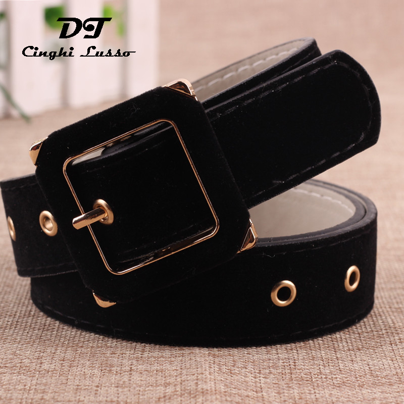 Black Design Wide Waistband Women Fashion Pin Buckle Dress   Belts   Cummerbunds Coat Velvet Flannel Leather Strap Waist   Belt   Female