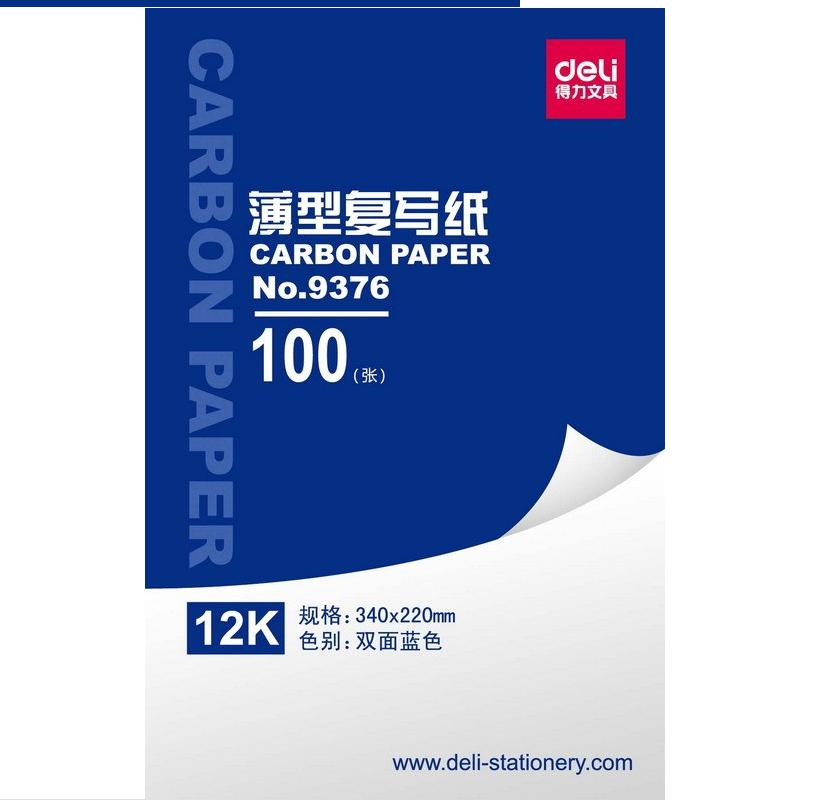 1 Pack 100 Sheets Blue Color Carbon Paper Include 3 Red Ones 12k 340x220mm Accounting Supplies Deli 9376