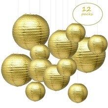 """12 قطعة 6 """" 12"""" الذهب فوانيس ورقية الصينية اليابانية بولي ورقة lampion دي ماريج ل حفل زفاف وعيد ميلاد معلقة لتقوم بها بنفسك ديكور"""