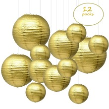"12 pcs 6"" 12 "" Gold Paper Lanterns Chinese Japanese boule papier lampion de mariage for Birthday Wedding Party Hanging Diy Decor"