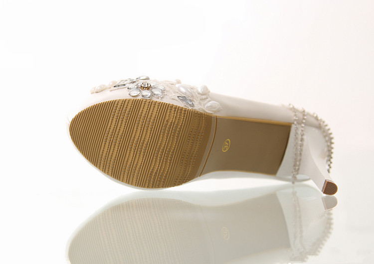White Lace Flower Non-slip High-heeled Platform Wedding Shoes
