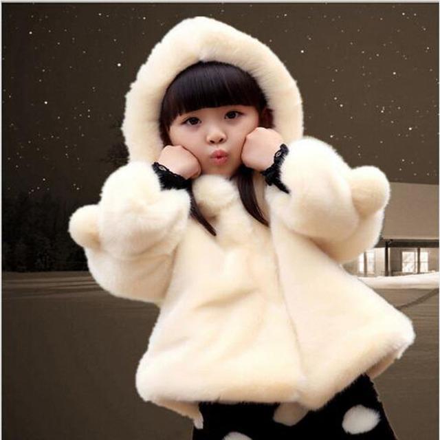 Bebés de invierno Faux Fur Fleece Coat Partido Pageant 1-17Y Navidad Traje Para La Nieve Caliente de la Chaqueta Del Bebé prendas de Vestir Exteriores de Los Niños Ropa de abrigo de algodón