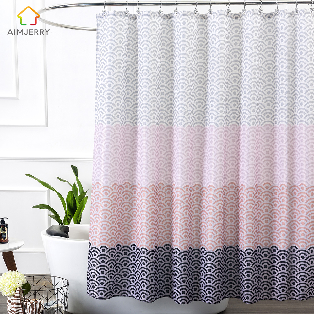 Aimjerry Longer Pink Bathtub bathroom Shower Curtain Fabric Liner with 12 Hooks 72Wx80H inch Waterproof and Mildewproof